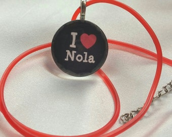 I Love NOLA Glass Tile Pendant w/ Matching Rubber Necklace