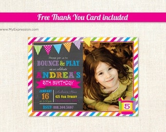 Bright Bunting Bounce House Girls Photo Birthday Invitations - Pump It Up Girls Birthday Party - Printable