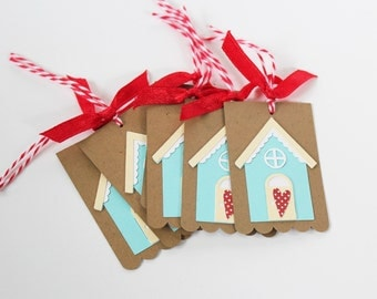 Tiny House Scalloped Gift Tags - Set of 6 / Scrapbook Embellishment / Scrapbooking / Gift Tags / Scalloped Tags / Kraft Tags / House Warming