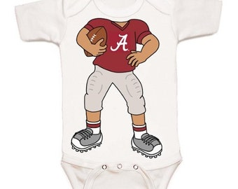 Alabama Crimson Tide Heads Up! Football Player Baby Bodysuit