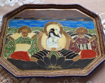 Vintage Samurai Hand Painted And Gilded Serving Tray