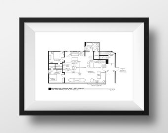 Friends Apartment Floor Plan - TV Show Floor Plan - Blackline Print for Apartment of Joey Tribbiani & Chandler Bing  *Featured on Today Show