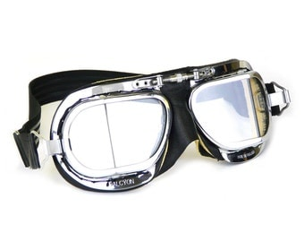Halcyon Mark 49 Compact Motorcycle Goggles / Black Leather with Chamois Leather / Chrome Plated Frames / For Open Faced Motorcycle Helmets