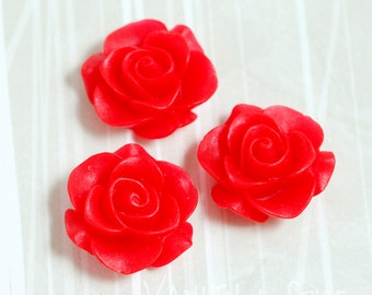 3 - Red Rose Flower Resin Cabochon, Flower Cabochons, 21mm