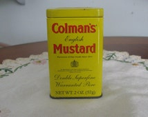 Collectible Colman's English Mustard Tin, 2oz Tin / Spicy Mustard Tin / English Mustard Tin / Yellow Tin / Spice Tin / Kitchen Decos/F115