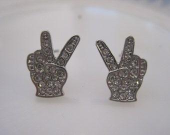 Silver Peace Sign Earrings - Stud Earrings - Rhinestone Silver Peace Sign Earrings - Peace Sign Jewelry
