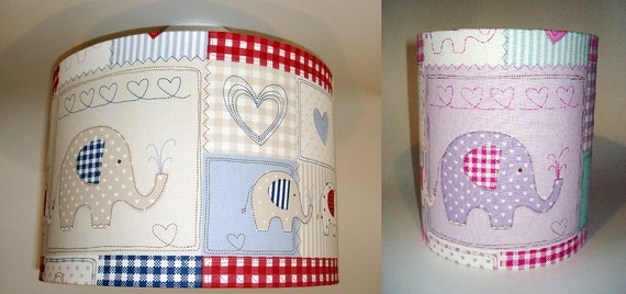 Elephant nursery lampshade in ceiling or bedside options