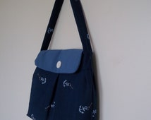 Anchor Purse in Navy Linen, Light Blue Polyester and Blue and White Stripe Cotton Lining with a White Button