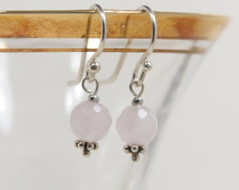 Rosy Quartz and Sterling Silver Earring
