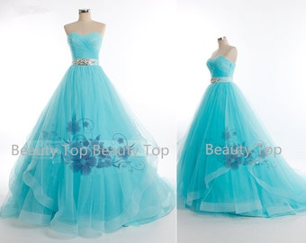 Tulle wedding dress prom ball gown blue tulle dress baby blue