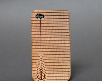 Hull wooden box engraved for iPhone 4 / 4 S - anchor