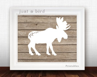 Moose Art Print, moose printable, nursery decor, nursery wall art, moose wall art, nursery printable, moose decor - INSTANT DOWNLOAD