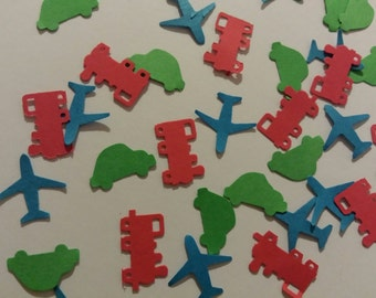 Planes, trains and automobiles- Hand punched confetti- 150 pieces- boys birthday/ baby shower/ cars