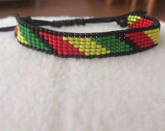 Loom beaded reggae bracelet