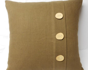 Linen Pillow with wood buttons