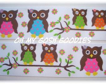 "POLKA DOT HOOTS Owls Grosgrain Ribbon 7/8""  - 5 Yards - Oh My Gosh Goodies Ribbon"