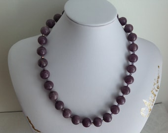 Purple Adventurine beaded Necklace 12mm Gemstone 3mm Chinese Crystal Faceted Handcrafted