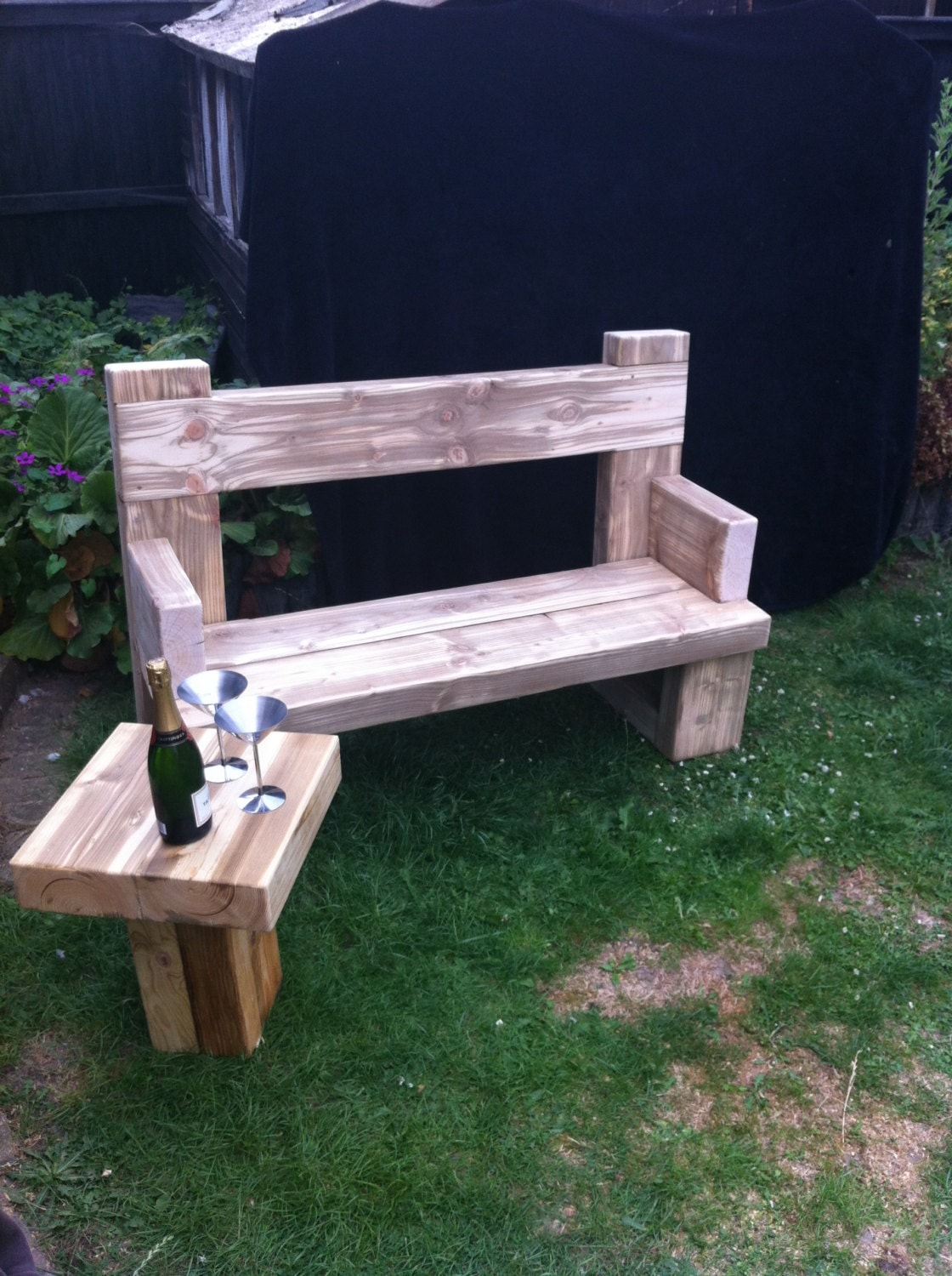 Chunky solid wood handmade garden bench unique caveman - Handmade wooden garden benches ...