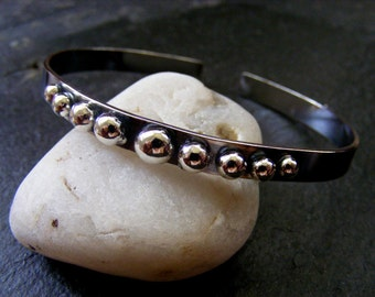 Silver oxidised cuff with silver balls Silver Bracelet Black and Silver Cuff