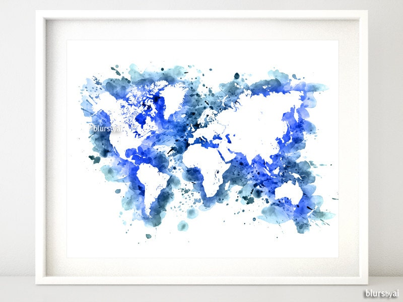 Watercolor World Map Printable 20x16 10x8 Navy