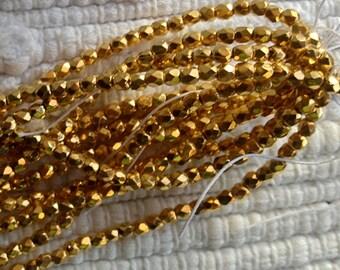 Gold Czech True 2 mm Fire Polish - 50 Beads