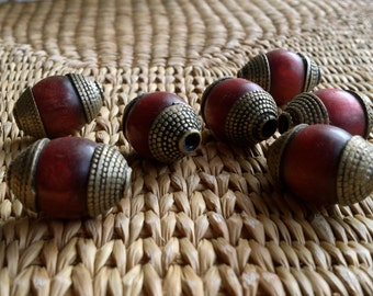 22 mm Dark Red Tibetan Beads