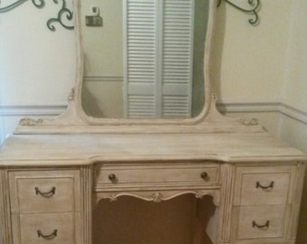 Example of finished work!! Antique Vanity and Mirror Shabby Chic We can customize one for you!