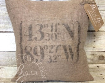 Longitude Latitude Coordinates Burlap Pillow Cover - Housewarming Gift - First Home - Graduation Gift - Vintage Farmhouse
