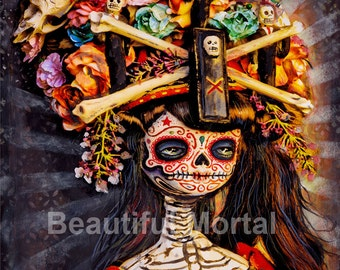 Beautiful Mortal Dia De Los Muertos Bone Princess Doll canon PRINT 364 Reproduction by Michael Brown