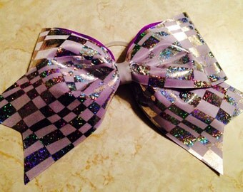 Hologram Checkered Cheer Bow