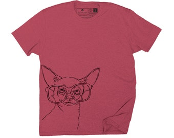 Men's Hipster Chihuahua T-Shirt - Small, Medium, Large, XL, 2XL in 2 Colors