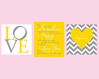 Nursery canvas art- You are My Sunshine- LOVE -  Set of 3 - 1-1/4'' deep frame- ready to hang