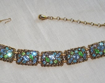 Barclay Vintage Jewelry Necklace Rhinestones Gold Tone 02413