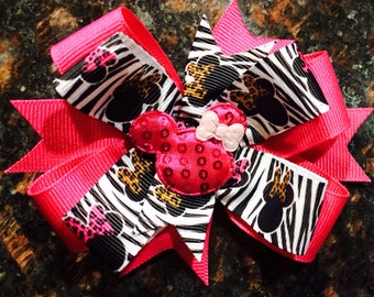 Hot Pink and Zebra Minnie Mouse Bow/ Clip...Zebra Print Minnie Mouse