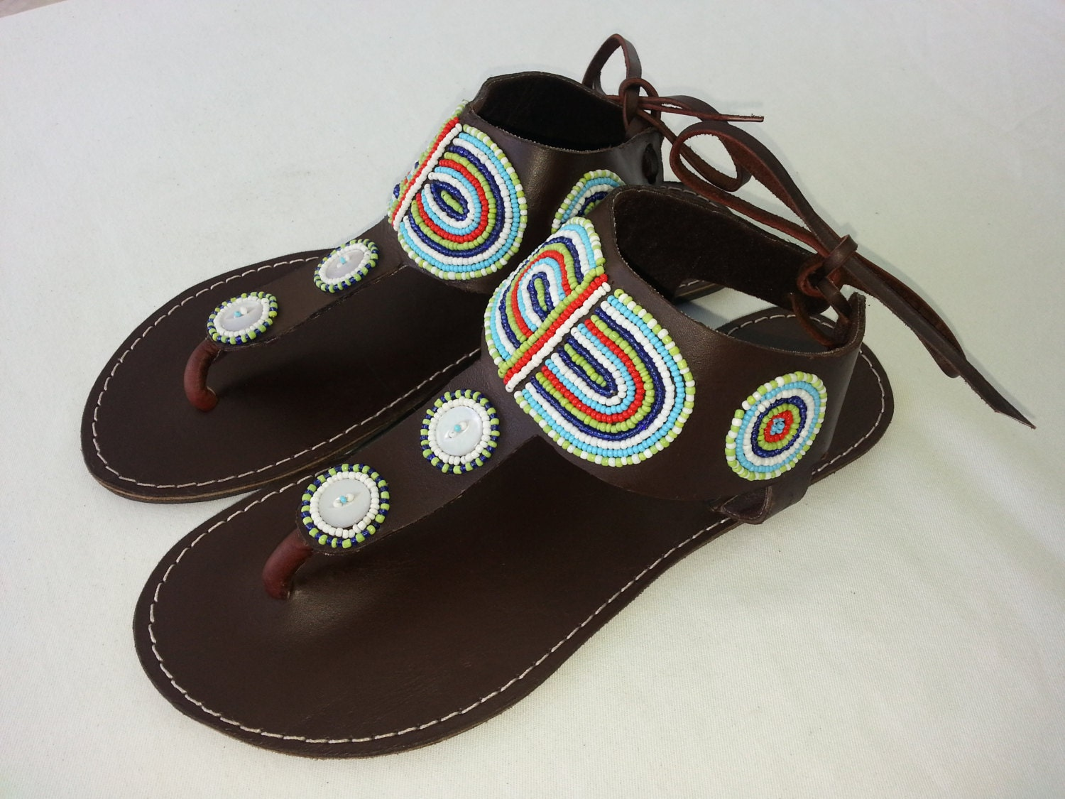 colours beaded leather sandals by africanheritagegifts