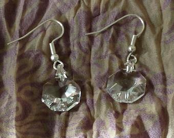 Clear crystal rivoli (octagon) swarovski crystal earrings