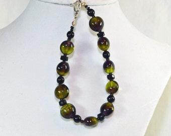 Beautiful Olive Green Beaded Bracelet