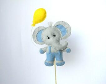 Elephant Cake Toper Custom Made Baloon, Boyl baby shower blue elephant, elephant theme party decor, kids birthday