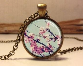 Cherry Blossom necklace.  Cherry Blossom art pendant jewelry(Cherry #2)