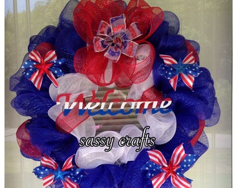 USA Patriotic Red White Blue Stars Stripes Deco Mesh Ribbon Door  Welcome Wreath