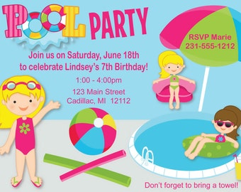 Girls Pool Party Invitation, Pool Birthday Invitations, Digital or Printed Party Invites