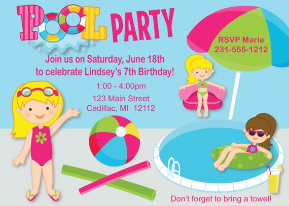 girls pool party invitation pool birthday invitations digital or