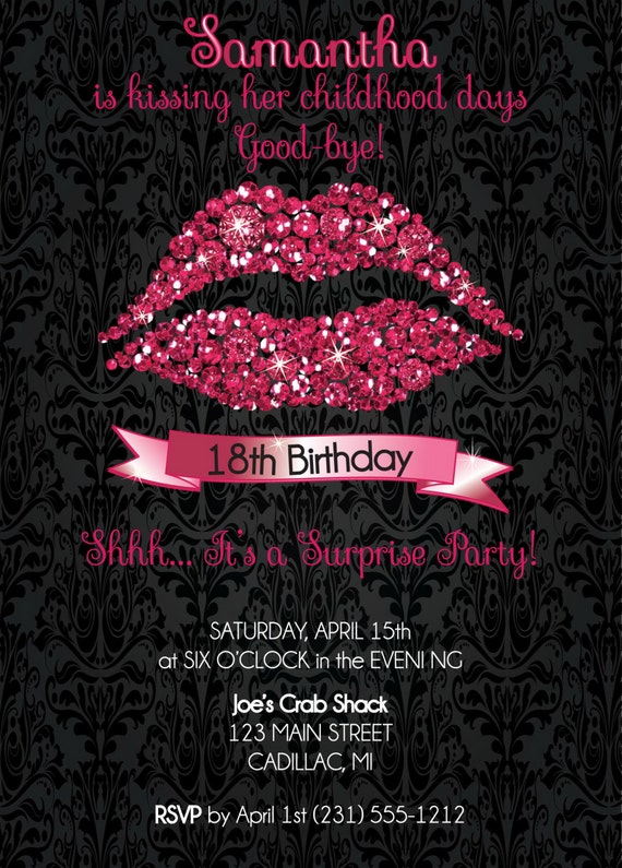 18th birthday invitation 18th birthday party invitation hot pink il570xn filmwisefo