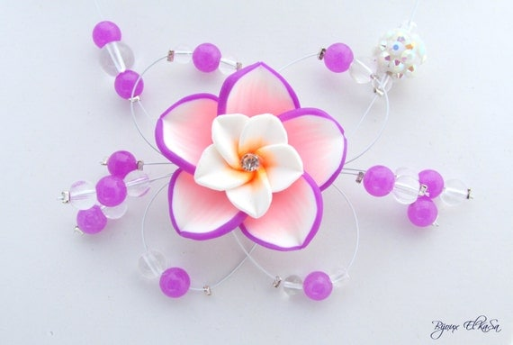 CHRISTMAS in July - CIJ -Necklace with purple and white flower, perfect for graduation, wedding or night out