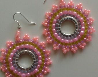 Beaded Earrings Pink Salmon Ceylon