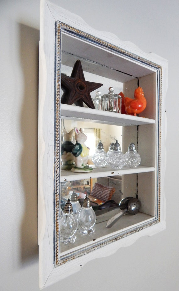 Antique mirror antique mirror shadow box by for Mirrored box shelves