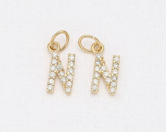 N - Alphabet, Initial, Letter Cubic Pendant Polished Gold -Plated - 1 Pieces <P0238-PG>