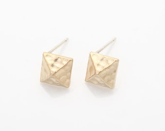Square Post Earring Matte Gold- Plated - 2 Pieces [AA0045-MG]