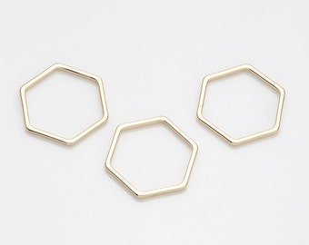 16MM Hexagon  Shape Brass Pendant ,Jewelry Supplies, Jewelry Making, Polished Gold-Plated - 6 Pieces [P0451-PG]