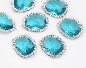 Clearance(70%DC)  - Blue Zircon Glass Pendant, Crystal Czech Stone,Polished Rhodium -Plated - 2 Pieces [G0042-PRBZ]_Regular price 9.40